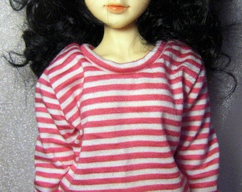 Hot pink /white striped sweatshirt for MSD, Leeke type A art body, 1/4 bjd DOLL