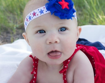 July 4th Fourth Baby Headband Red White Blue Stars - Gift or Photo Prop - Newborn Infant Toddler Girl Adult Bow Patriotic Memorial Day