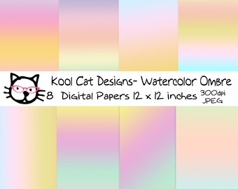 Watercolor Ombre Digital Paper Pack - Ombre  Digital Papers - Pastel paper - Ombre Patterns - Scrapbooking - Printable Paper -  Card making