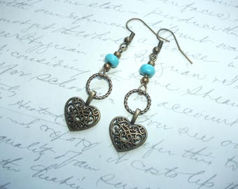 Heart charm earrings in filigree antique bronze with turquoise stones