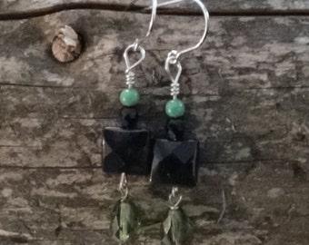 Black glass and stone earrings