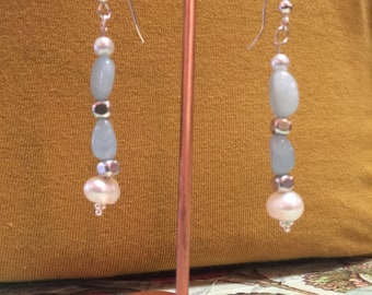 Aquamarine freshwater pearl sterling silver earrings