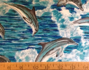 Dolphins cotton fabric by the yard