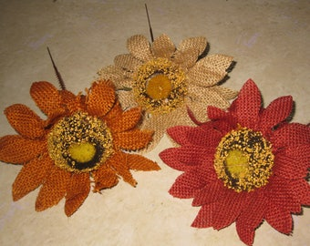Burlap Sunflowers- Fall Flower Accents- Home Decor- Natural Burlap- Wreath Embellishment- DIY Craft Supply- Rustic Wedding- Country Decor