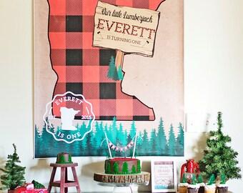 Lumberjack Minnesota Birthday Backdrop. Buffalo Plaid and Trees Birthday Backdrop. Personalized - Digital / Printable File