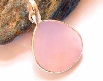 Pink Chalcedony Sterling Silver Pendant earthegy #536