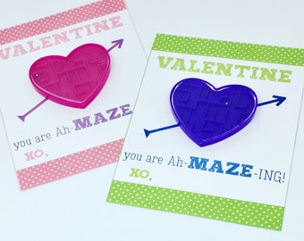 Kids Printable Valentines - Class Valentines - You Amaze Me - Non-candy Valentine - Maze Valentine - Printable PDF File - Instant Download