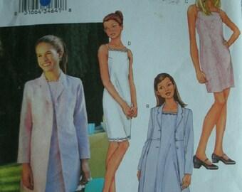 Girls Jacket and Dress Girls Sizes 7-8-10 Butterick Pattern 3415 UNCUT Pattern Dated 2002