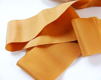 Antique 1900's Victorian French Silk Satin Ribbon 3 Inch Gorgeous Butterscotch