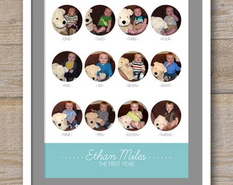 Baby's First Year Photo Collage - 11 x 14 - Digital File for print -  Fully Customizable