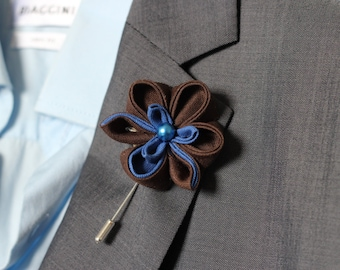 Royal blue and chocolate brown eco linen Orchid lapel flower, wedding boutonniere, lapel flower pin