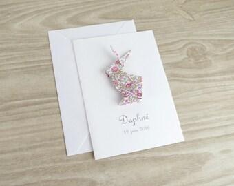 Faire part de naissance - baptême - carte de remerciement lapin en origami pour fille - liberty Eloise fait-main