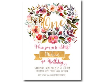 Vintage 1st Birthday Invitation | Floral, Girl Birthday Invite | 1st Birthday Floral Vintage |  1st Birthday Digital | Printable DIY | 1532