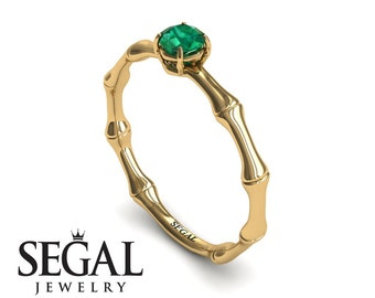 Emerald Engagement Ring Yellow Gold Green Emerald Ring Solitaire Ring Classic Ring 1920S Engagement Ring Emerald Engagement Ring - Charlotte