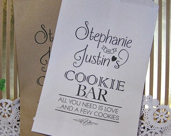 Personalized Cookie Bags (24 BAGS) - Wedding Cookie Bags - Cookie Bar Bags - Cookie Buffet - Love C03-P19