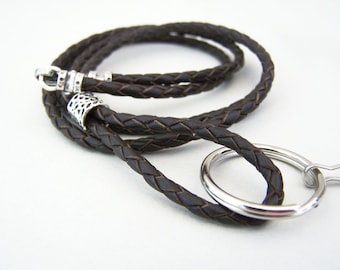 Bolo Cord Lanyard, 26 - 36 inch Unisex Leather Lanyard, Id Eyeglass Lanyard, KeyChain, Braided Leather 3mm,