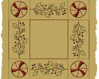 Primitive Machine Embroidery Design-Peppermint Holly Candle Mat-6 Inch-INSTANT DOWNLOAD