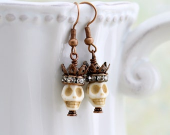 Pirate Queen Earrings - skull and crown Day of the Dead jewelry -  Dia de los Muertos - Halloween earrings