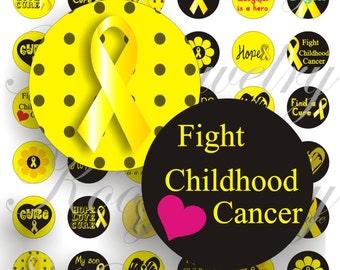 Childhood Cancer Awareness for bottle caps, pendant, buttons, scrapbook and more Vintage Digital Collage Sheet No.1181