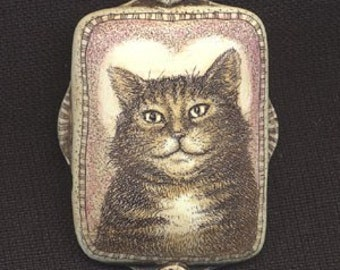 Sweet heart cat kitten scrimshaw technique resin Moosup pin