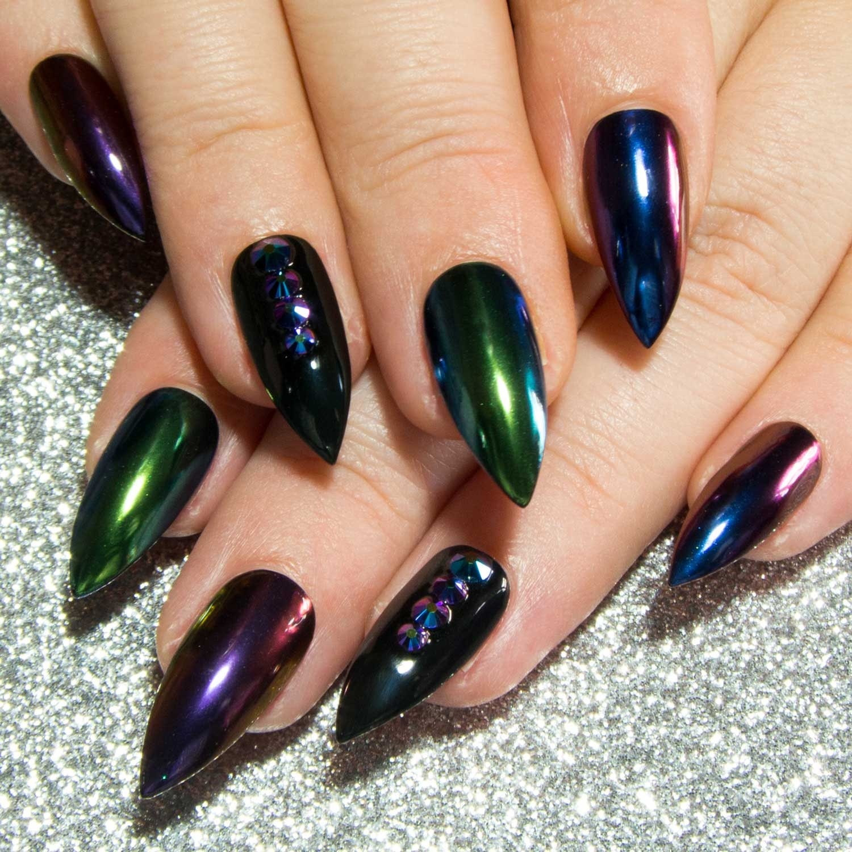 Chrome Press On Nails - Mirror Fake Nails - Stiletto Faux Nails ...