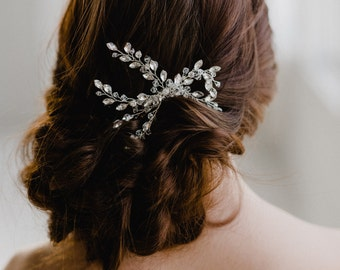 Silver Bridal Hair Comb | Silver Leaf Hair Pin | Silver Leaf Headpiece | Silver Wedding Comb | Crystal Leaf Headpiece | Silver Ivy Hair Comb