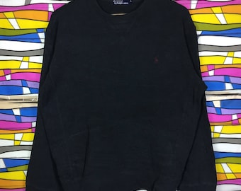 Rare!! POLO By Ralph Lauren Sweatshirt Small Pony Large Size black colour jumper pullover