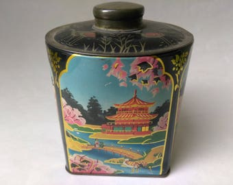 20% OFF Listed Price, Vintage Tea Tin, Black Asian Tin, Japanese Tin Canister, Collectible Tins, #9
