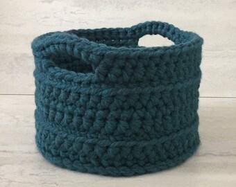 Storage Basket , Basket with Handles, Crochet Basket, Green Basket, Teal Basket, Toy Storage, Kitchen Storage, Bathroom Storage, Storage Bin