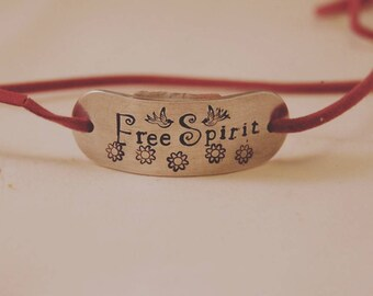 Free Spirit Aluminium Faux Suede Wrap Bracelet - Hand Stamped Bracelet - Gift for Her - Jewellery - Personalised - Personalize -  Vegan