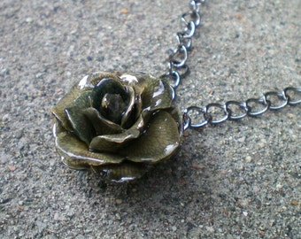 Free Shipping REAL Small Grey TEA ROSE Adjustable 18 inch Chunky Gun Metal Chain Necklace