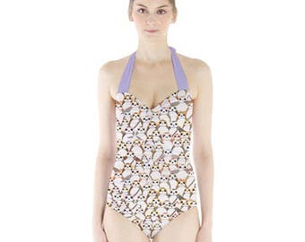 Star Wars Swimsuit, Porgs Sweetheart Halter Swimsuit, Big Porg Print One Piece Bathing Suit, The Last Jedi Swimsuit, Galactic Penguin
