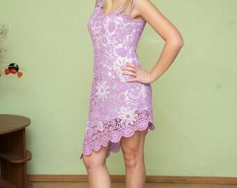 Crochet Women's dress, lilac dress, crocheted dress,summer dress, sexy dress, lacy dress