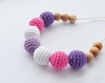 Wooden juniper Nursing necklace - Pink Purple Teething Necklace - Neutral jewerly - new baby gift