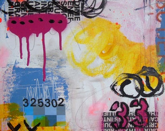 Thirty Three- mixed media original collage painting on canvas square foot pop art