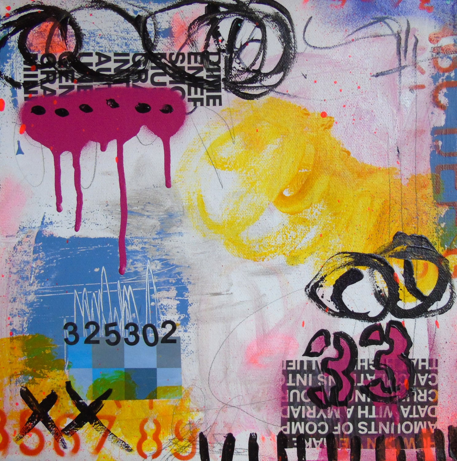 Thirty Three mixed media original collage painting on canvas