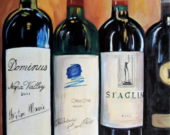 Opus one, Dominus and Staglin Cabernets, limited edition Giclee print on canvas, kitchen art , gift for brother, wine painting