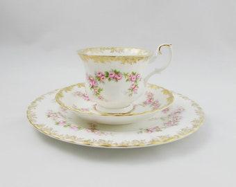 "Royal Albert ""Dimity Rose"" Trio, Tea Cup, Saucer and Plate, Vintage Bone China"