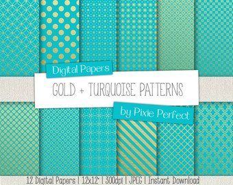 Turquoise and Gold Digital Paper: Gold and Digital Paper, Teal and Gold Scrapbook Paper, Gold and Teal Scrapbook Paper Commercial Use OK(63)