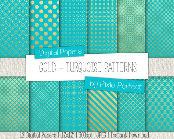 Turquoise And Gold Digital Paper Gold And Digital Paper Teal And