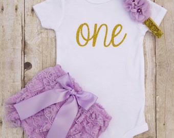 Purple and Gold First Birthday Outfit...1st Birthday Girl Outfit...First Birthday Girl...One Year Old Birthday Outfit...Cake Smash Outfit