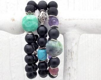 black onyx bracelet, gemstone bracelet, stacking bracelet, sterling silver, amethyst, ruby bracelet, chrysoprase bracelet, Hill Tribe silver