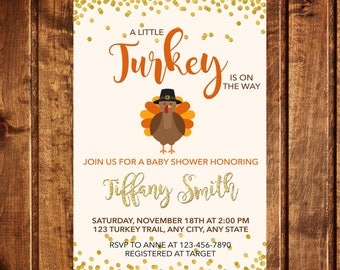 Turkey Baby Shower Invitation, Turkey Invitation, Fall Baby Shower Invitation, A little turkey is on the way baby shower invitation, Digital