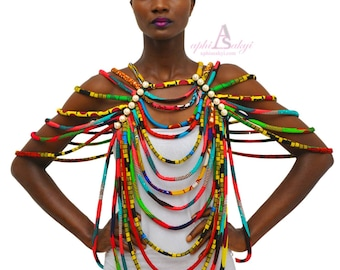 African fabric necklace , rope necklace , African jewelry,conversion piece rope necklace,jewelry,African necklace