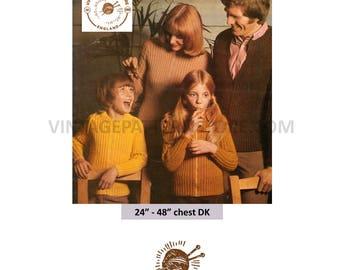 "Ladies mans boys girls 1970s, zipped, rib windcheater jacket - 24"" - 48"" chest - Vintage PDF Knitting Pattern 1381"