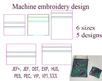 zippered bag travel Machine embroidery designs . Blank zip bag embroidery designs. ITH zippered bag Embroidery Design. File Instant Download