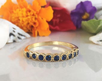 20% off-SALE!! Blue Sapphire Ring - September Ring - Delicate Ring - Stacking Ring - Gold Ring - Dainty Ring - Bezel Ring - Gemstone Band