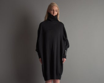 karma fields black turtleneck sweatshirt dress / minimalist black dress / sack dress / s / m / 1090d