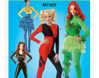 Sewing Pattern Misses Cosplay Costume ,McCall's Pattern 7269, Halloween Costume, Cosplay, Body Suit, Ruffled Skirt Costume Design