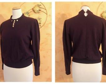 Vintage 1970s does 1940s Dark Burgundy Woolen Sweater - size M